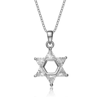 Collette Z Sterling Silver Cubic Zirconia Star of David Necklace