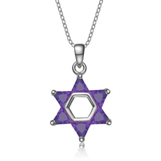 Collette Z Sterling Silver Purple Cubic Zirconia Star of David Necklace
