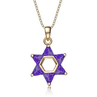 Collette Z Gold Plated Purple Cubic Zirconia Star of David Necklace