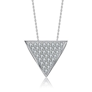 Collette Z Sterling Silver Cubic Zirconia Reverse Triangle Necklace - White