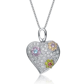 Collette Z Sterling Silver Cubic Zirconia Flower Accent Necklace