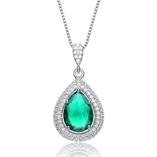 Collette Z Sterling Silver Green Cubic Zirconia Pear Pendant Necklace