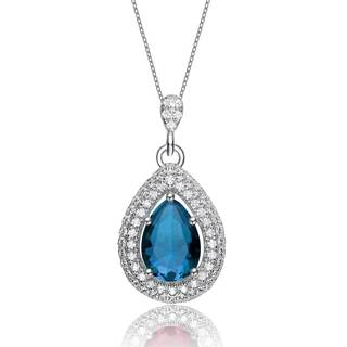 Collette Z Sterling Silver Blue Cubic Zirconia Pear Pendant Necklace