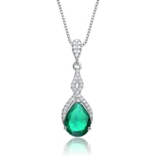 Collette Z Sterling Silver Green Cubic Zirconia Pear Twist Pendant Necklace