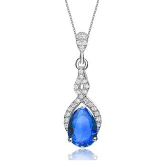 Collette Z Sterling Silver Blue Cubic Zirconia Pear Twist Pendant Necklace