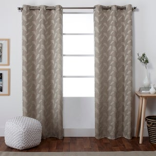 ATI Home Feathers Jacquard Grommet Top Window Curtain Panel Pair