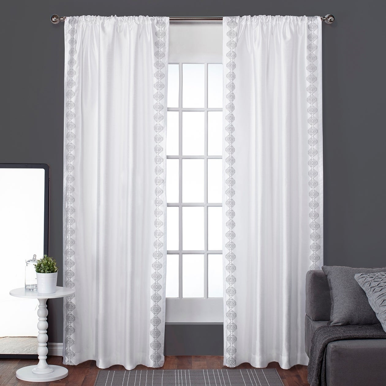 ATI Home Tiffany Embroidery Striped Curtain Panel Pair with Rod Pocket
