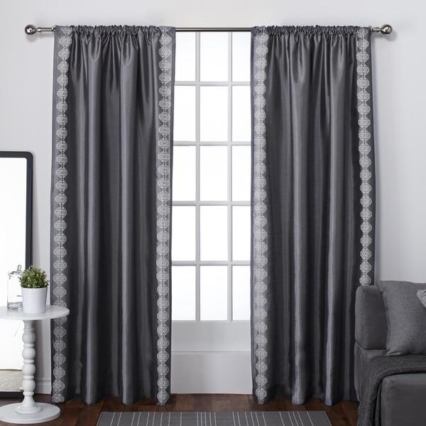 ATI Home Tiffany Embroidery Rod Pocket Curtain Panel Pair