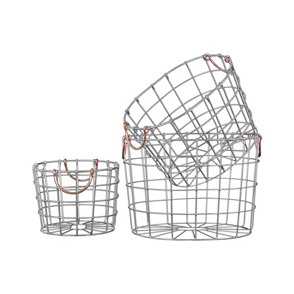 Shop Silver Finish Metal Wire Round Nesting Baskets With
