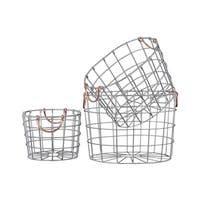 Silver Finish Metal Wire Round Nesting Baskets with Two Handles(Set of 3)