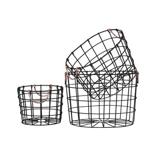 Black Finish Metal Wire Round Nesting Baskets with Two Handles (Set of 3)