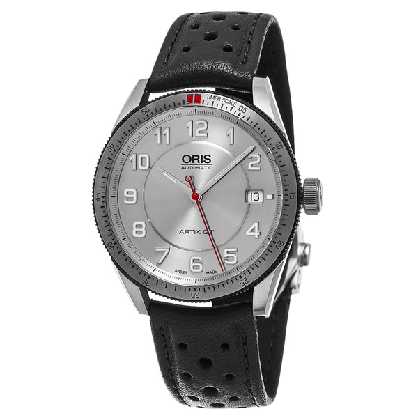 Oris Unisex 'Artix GT' Silver Dial Black Leather Strap Date Swiss Automatic Watch