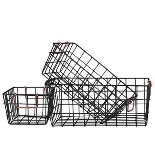 Black Finish Metal Write Rectangular Nesting Baskets with 2 Handles (Set of 3)