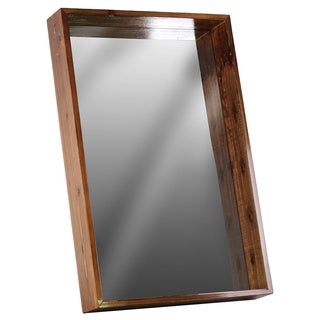 Varnished Brown Finish Rectangular Medium Wall Mirror with Protruding Frame