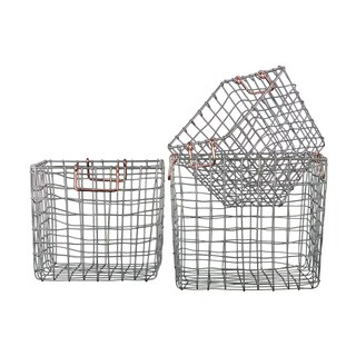 Silver Finish Metal Wire Square Nesting Baskets with Two Handles (Set of 3)