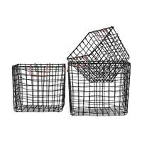Black Finish Metal Wire Square Nesting Basket with Handles (Set of 3)