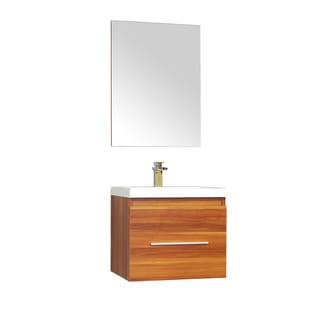 Alya Bath Ripley Collection 24-inch Single Wall Mount Modern Bathroom Vanity Set in Cherry