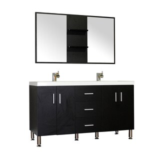 Alya Bath Ripley Collection 56-inch Double Modern Bathroom Vanity Set in Black
