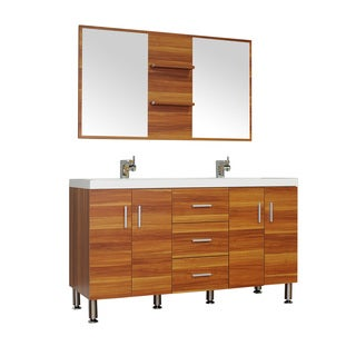 Alya Bath Ripley Collection 56 Inch Double Modern Bathroom Vanity Set In Cherry Free Shipping