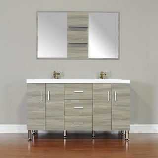 Shop Alya Bath Ripley Collection 56 Inch Double Modern Bathroom Vanity Set In Grey Free