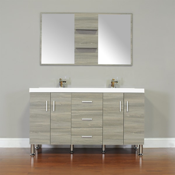 Alya Bath Ripley Collection 56 Inch Double Modern Bathroom Vanity Set In  Grey