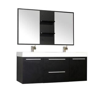 Alya Bath Ripley Collection 54-inch Double Wall Mount Modern Bathroom Vanity Set in Black