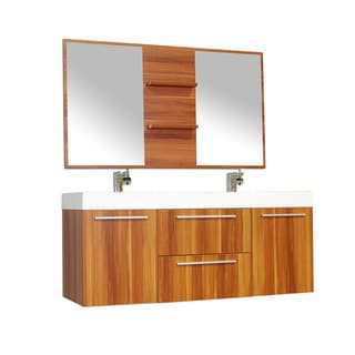 Alya Bath Ripley Collection 54-inch Double Wall Mount Modern Bathroom Vanity Set in Cherry