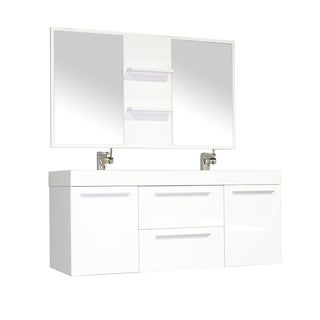 Alya Bath Ripley Collection 54-inch Double Wall Mount Modern Bathroom Vanity Set in White