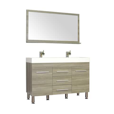 Alya Bath Ripley Collection 48-inch Double Modern Bathroom Vanity Set in Grey