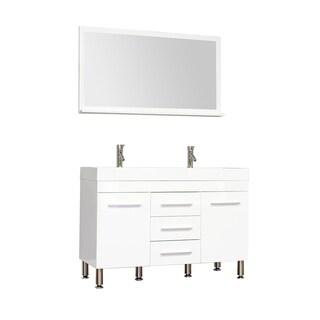 Alya Bath Ripley Collection 48-inch Double Modern Bathroom Vanity Set in White