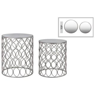 Silver Finish Mirror Top Metal Lattice Design Round Nesting Table (Set of 2)