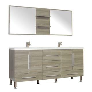 Alya Bath Ripley Collection 67-inch Double Modern Bathroom Vanity Set in Grey