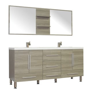 Alya Bath Ripley Collection 67 Inch Double Modern Bathroom Vanity Set In  Grey