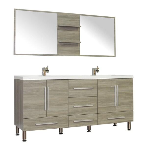 Alya Bath Ripley Collection 67 Inch Double Modern Bathroom Vanity Set In Grey