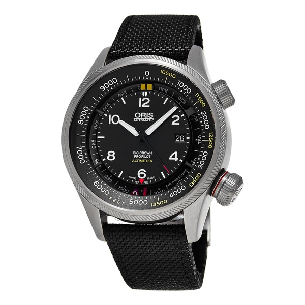 Oris Men's 'Big Crown' Black Dial Black Fabric Strap ProPilot Altimeter Swiss Au