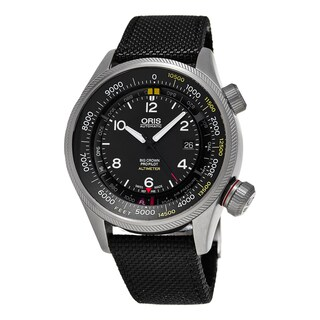 Oris Men's 733 7705 4134 LS 15 'Big Crown' Black Dial Black Fabric Strap ProPilot Altimeter Swiss Au
