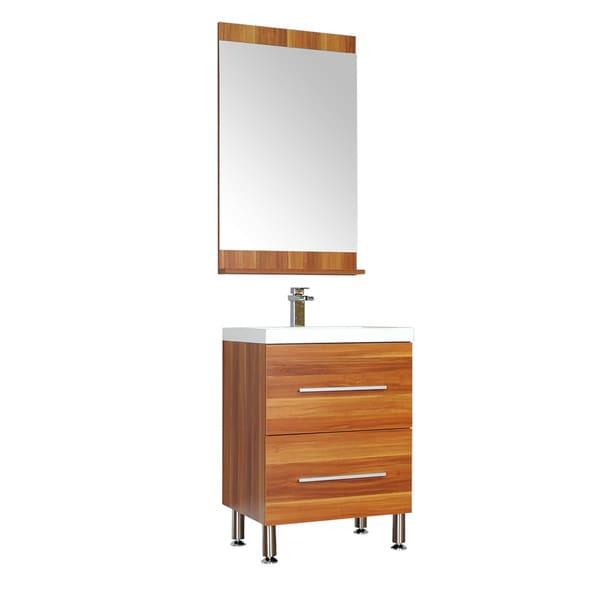Shop alya bath ripley collection 24 inch single modern bathroom vanity set in cherry free for Modern bathroom vanity 24 inch