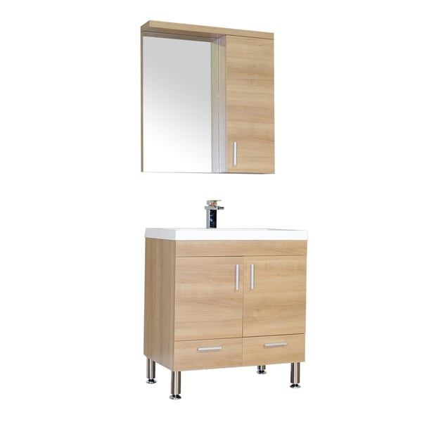 Bathroom Vanity Lights Single : Alya Bath Ripley Collection 30-inch Single Modern Bathroom Vanity Set in Light Oak - Free ...