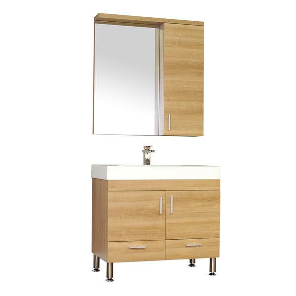 Shop Alya Bath Ripley Collection 36 Inch Single Modern Bathroom Vanity Set In Light Oak Free