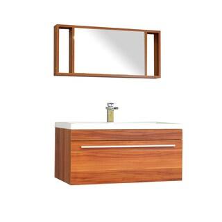 Alya Bath Ripley Collection 36-inch Single Wall Mount Modern Bathroom Vanity Set in Cherry