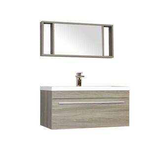 Alya Bath Ripley Collection 36-inch Single Wall Mount Modern Bathroom Vanity Set in Grey
