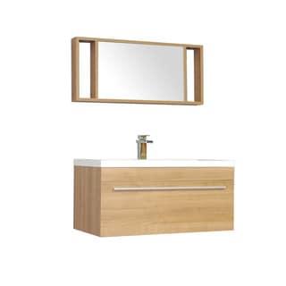 Alya Bath Ripley Collection 36-inch Single Wall Mount Modern Bathroom Vanity Set in Light Oak