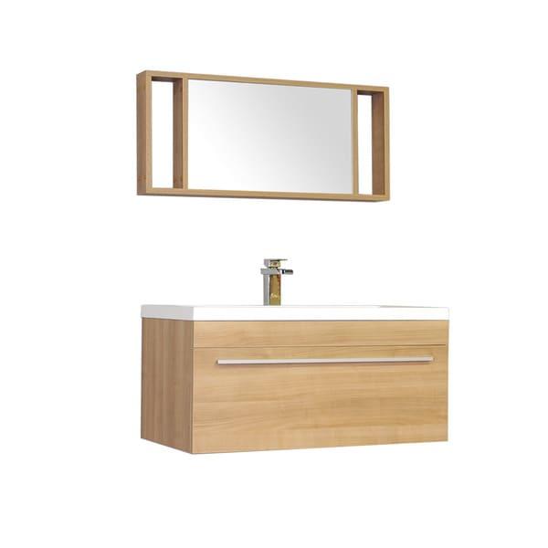 Shop Alya Bath Ripley Collection 36 Inch Single Wall Mount Modern Bathroom Vanity Set In Light