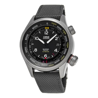 Oris Men's 733 7705 4134 LS 17 'Big Crown' Black Dial Grey Fabric Strap ProPilot Altimeter Swiss Aut