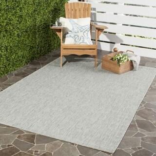 Safavieh Indoor/ Outdoor Courtyard Grey/ Turquoise Rug (2' 7 x 5')