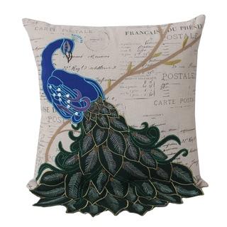 Thro by Marlo Lorenz Postcard Print Peacock 16-inch Decorative Throw Pillow