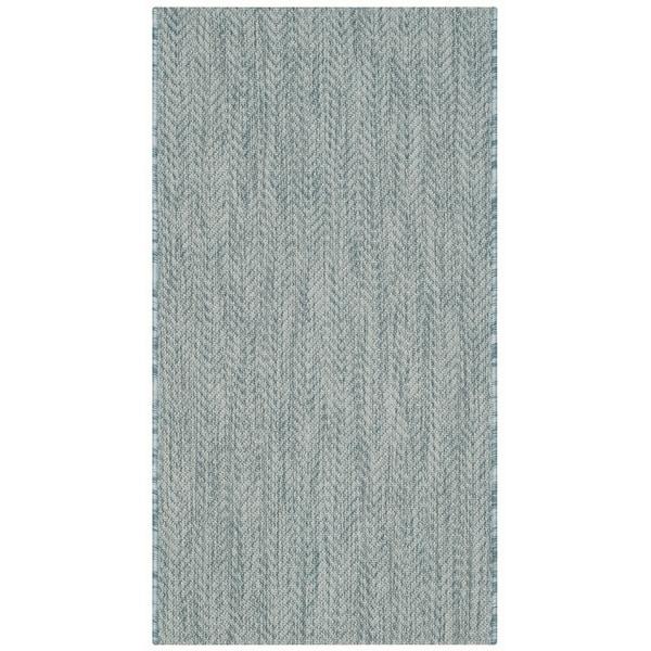 Safavieh Indoor/ Outdoor Courtyard Aqua/ Grey Rug (2' x 3' 7)
