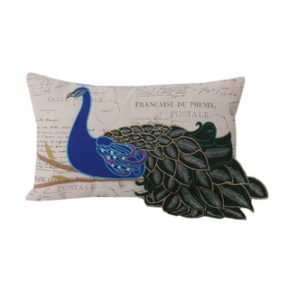 Thro by Marlo Lorenz Postcard Print 12x20 Peacock Throw Pillow