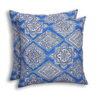 Milan Cobalt Indoor/Outdoor KE Fiber Throw Pillow (Set of 2)