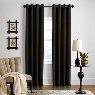 Grand Luxe Gotham Black Linen Grommet Curtain Panel